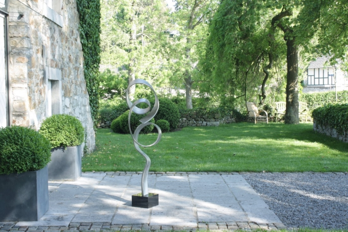 edle abstrakte edelstahl skulptur 130x50 cm 35 kg. Black Bedroom Furniture Sets. Home Design Ideas