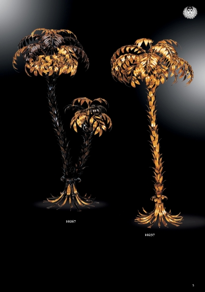 stehleuchte stehlampe goldene palmen 2 st mmig 6 flammig blattgold. Black Bedroom Furniture Sets. Home Design Ideas