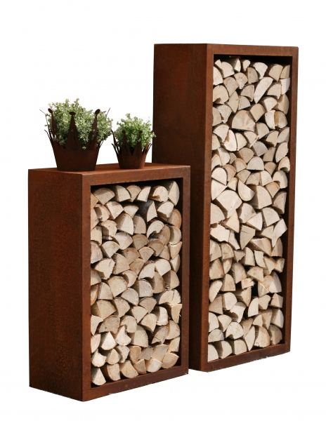 holzregal lounge stahlblech edelrost. Black Bedroom Furniture Sets. Home Design Ideas